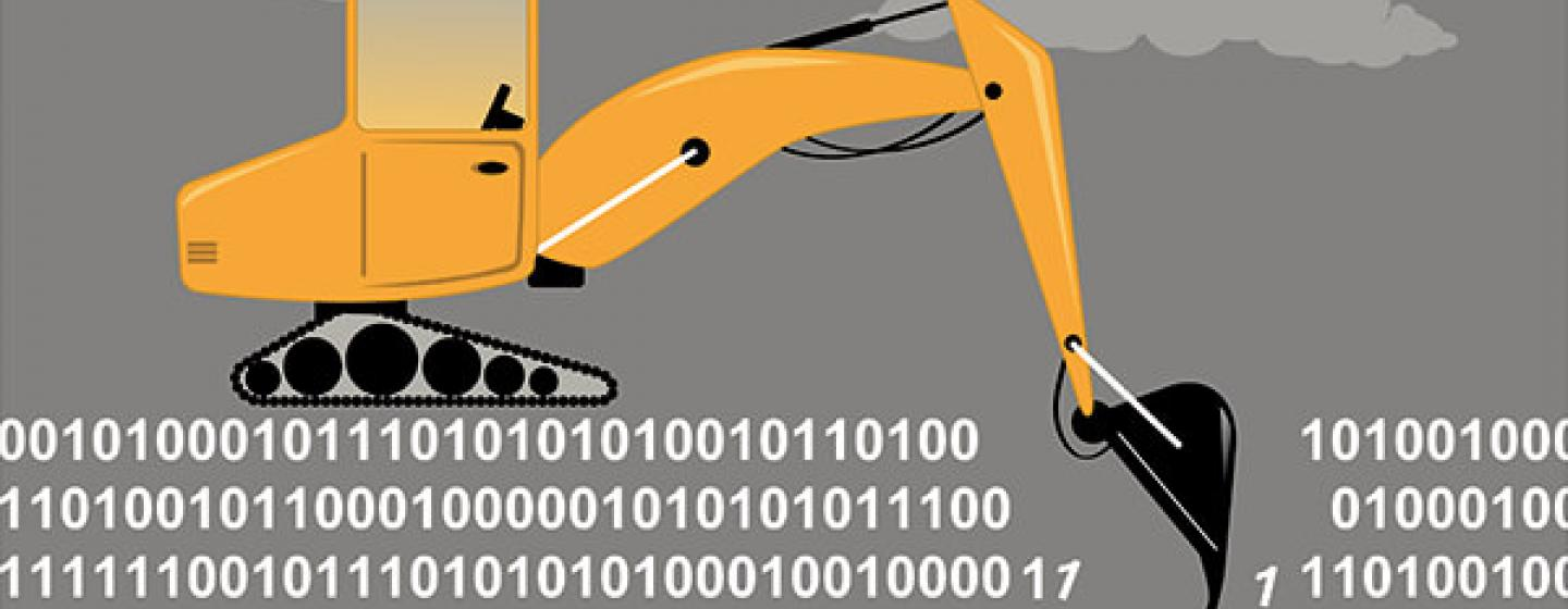 Bagger gräbt in Daten (Quelle: Shutterstock - https://www.shutterstock.com/image-vector/excavator-digging-through-binary-code-metaphor-513585007)
