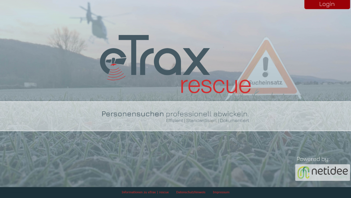 Screenshot Landingpage etrax | rescue