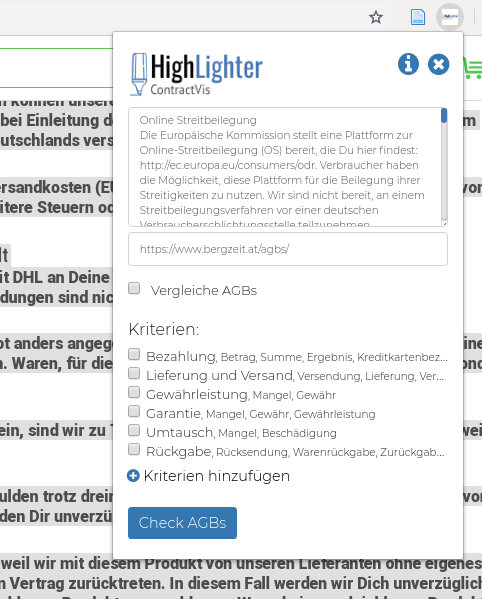 Ansicht der HighLighter Web Extension