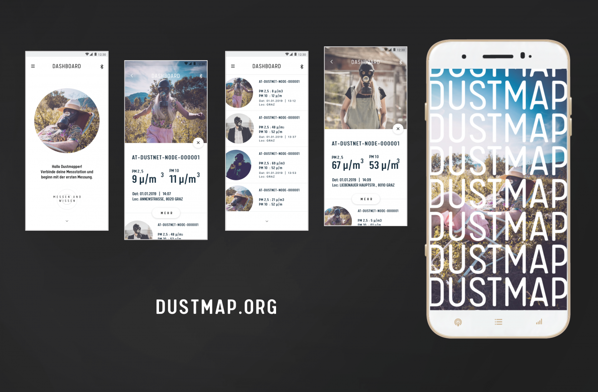 Screenshots der dustmap-App