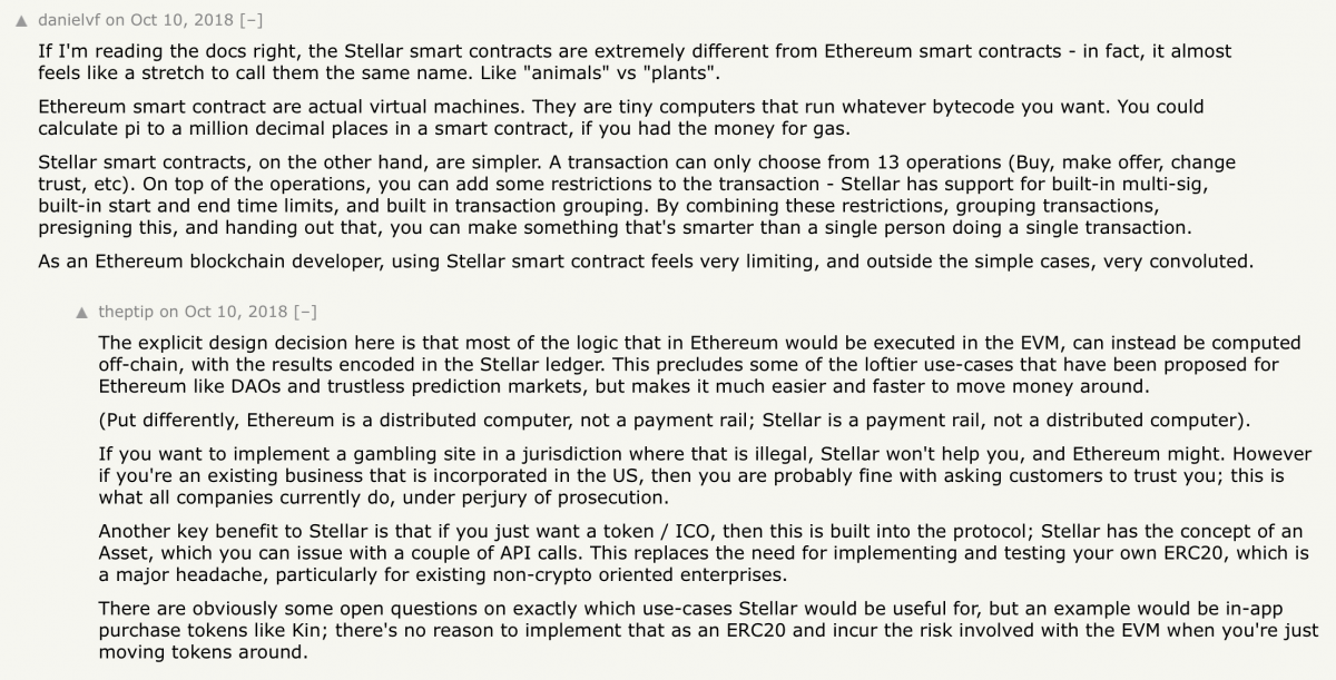 discussion on the differences between ethereum and stellar smart contracts