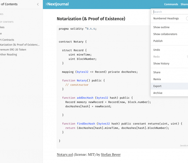 markdown export on nextjournal